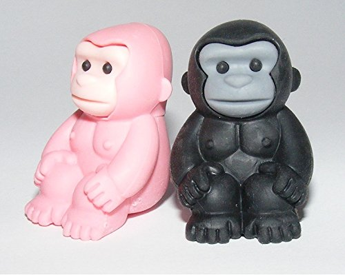 New 2014 Iwako Gorilla Eraser 2 Pieces a Set Black & Pink - Limited Edition - 1