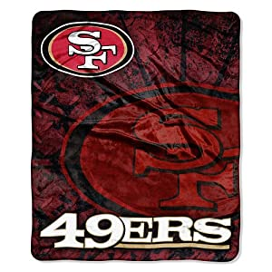 NFL San Francisco 49ers Raschel Plush Throw Blanket, Roll Out Design