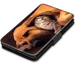 Chiens 10015, Chien et Chat, Etui Personnalisé Coque Housse Cover Coquille en Cuir Noir avec l'Image Coloré pour Samsung Galaxy Note 2 N7100.