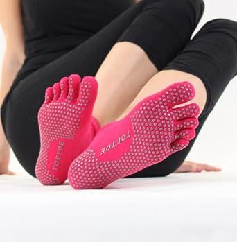 TOETOE Socks Yoga & Pilates - Anti-Slip Sole Trainer (UK 3-5.5 / EU 36-39, Fuchsia)