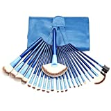 LiteXim 24Pcs Blue Professional Facial Makeup Make Up Cosmetic Brush Collection Eyeshadow Powder Brush Set Kit with Leather Roll up Pouch Case Silk UP and Forever Young