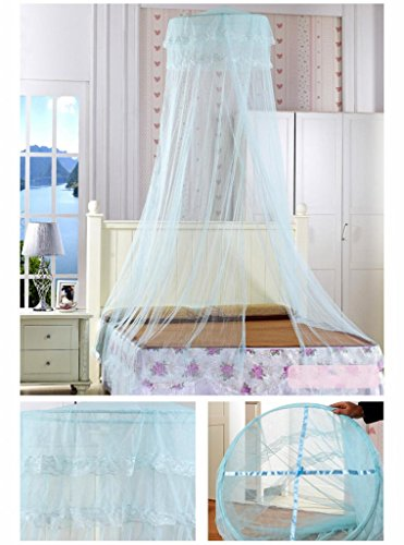 Easygoby New Stylish Round Lace Curtain Dome Bed Canopy Netting Princess Mosquito Net - 1