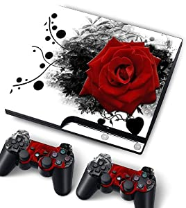 Bundle Monster Vinyl Skin Sticker For PlayStation PS3 S SLIM Game Console - Cover Protector Art Decal - Red Rose