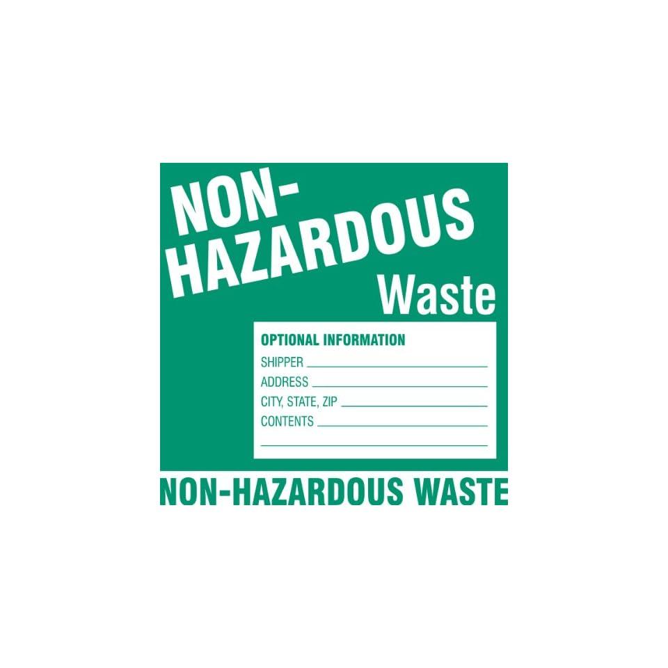 Brady 60447,  Hazardous Waste Labels, 6 Height x 6 Width, White on Green, Legend Non Hazardous WasteEtc  (100 per Package)
