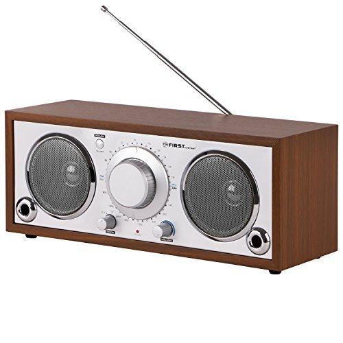 """AM / FM Radio mit """"AUX IN"""" Anschluss und Holzgehaeuse (3,5mm Klinkenstecker) und 2 Bassreflexroehren FA-1907-1 Nostalgieradio Retro Radio tragbares Radio"""