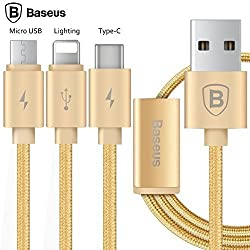 USB Type C 3 in 1 Cable, Baseus® 3.9ft/1.2M Micro USB/Lighting/Type-C Charging Syncing Data Cable for iPhone 6s Plus SE 5s, iPad, Macbook, Samsung Galaxy S7 S7 Edge, HTC, LG G5, ChromeBook, etc (Gold)