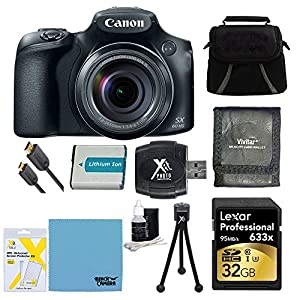 Canon PowerShot SX60 HS Digital Camera 32GB Ultimate Bundle Includes Camera, 32GB Professional 633x SDHC Class 10 UHS-I/U3 Memory Card Up to 95 Mb/s, Gadget Bag, NB-10L Battery, Memory Card Wallet, SD USB Card Reader, Mini Tripod, Mini-HDMI to HDMI A/V Ca