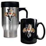Florida Panthers NHL Stainless Steel Travel Mug & Black Ceramic Mug Set - Primary Logo