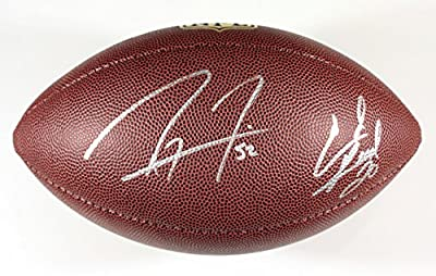 "Ray Lewis and Ed Reed Baltimore Ravens Signed Autographed Wilson ""THE DUKE"" NFL Football COA"
