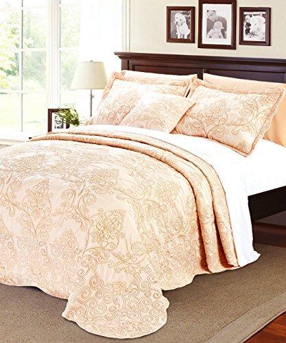 Serenta Damask 4 Piece Bedspread Set, Queen, Salmon (Eiderdown Quilt compare prices)