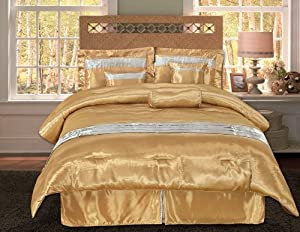 Fashion Street Mandalay 7-Piece Satin King Comforter Set, Gold