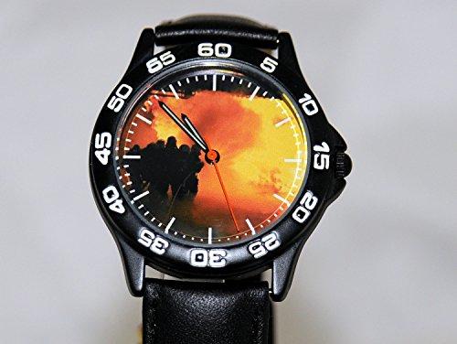 Armbanduhr Feuerwehr schwarz mit Lederarmband