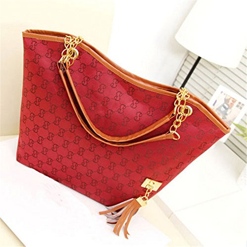 Chic Women'S Hobo Bags Shoulder Bags Handbag Purse Satchel Tote Bag Red front-715300