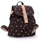 Sannysis 1PC Vogue Canvas Pastoral Floral Flower Leisure Backpack School Bag (Brown)