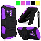 Cellularvilla Samsung Galaxy S3 S III Mini I8190 Purple Black Prime Series Hard Soft Dual Layer Holster Case KickStand with Locking Belt Swivel Clip Cover Protector + Stylus Touch Pen
