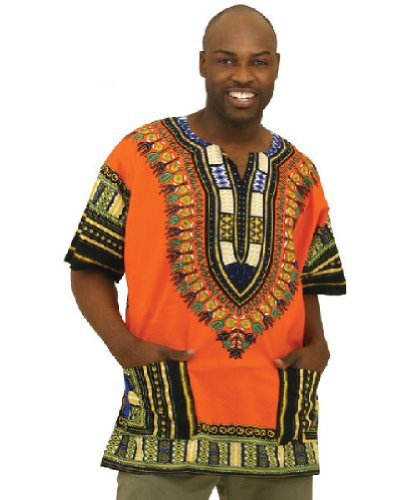 Traditional Thailand Style Dashiki - Available in Several Color Combinations, Orange