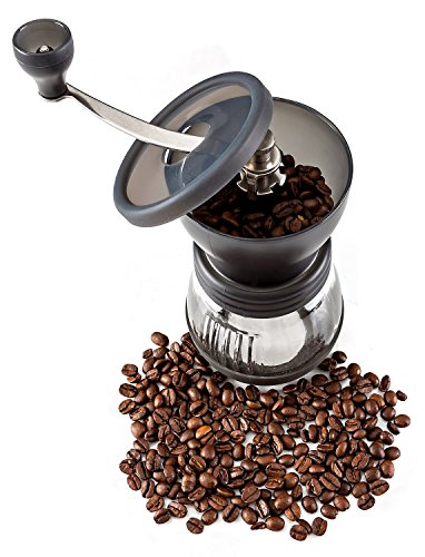 PuTwo B0140MSTO2 Coffee Grinder Burr Stainless Steel with Ceramic Hand Crank, Black