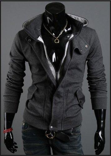メンズ 重ね着風 パーカ ボリュームネック タイト きれいめ デザイン パーカー 3色バイエーション【3連レザーブレス セット販売】 (XL, ダークグレー)