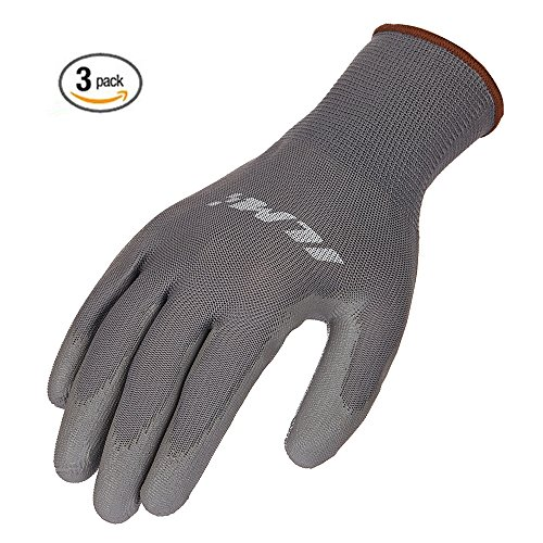 ILM 3 Pack Safety Work Gloves Utility Ultimate Nitrile Grip For Garden Electrician Automotive Kids Women Men (M, GRAY) (Mechanix Insulated Gloves Medium compare prices)