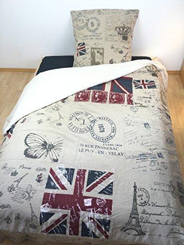 Designer-Bettberwurf-Tagesdecke-Union-Jack-mit-Fell-Patchwork-Leineoptik-knitterfrei-Gre250x250-cm-Doppelbett