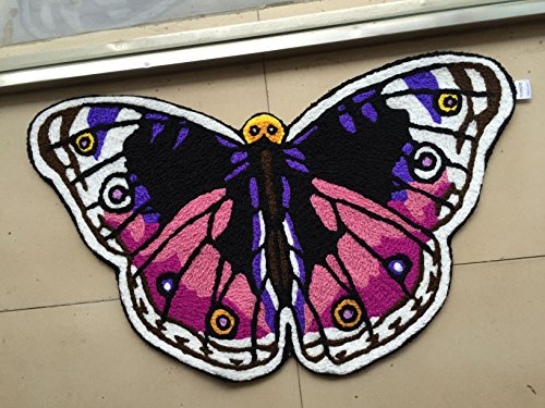 MAXYOYO Butterfly Bathroom Rug Hand-embroidered Floor Mats Personalized Custom Carpets Butterfly Imprint Anti-slip Rugs (purple)