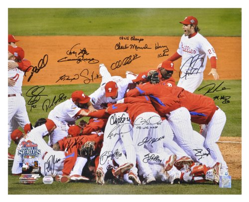 Philadelphia Phillies Autographed 16x20 Photograph - Team Signed, 2008 World Series, Celebration - Mounted Memories Certified at Amazon.com