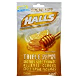 Halls Cough Suppressant/Oral Anesthetic, Sugar Free, Menthol, Honey-Lemon, 25 ct.