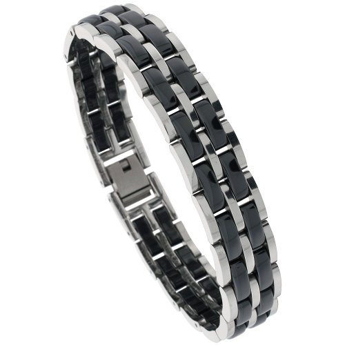 Sabrina Silver Tungsten & Ceramic 2-Tone (Black & Gun Metal) Bar Link Pantera Bracelet, 15/32 in. (12mm) wide (BTN135)