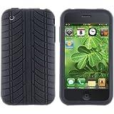 Schwarz Reifen Silikon Tasche Case Etui Hülle TPU Gummi für Apple Iphone 3G 3GS
