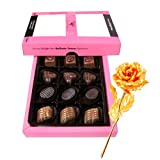 Close To My Heart Belgian Chocolates With 24k Gold Plated Rose - Chocholik Belgium Chocolates