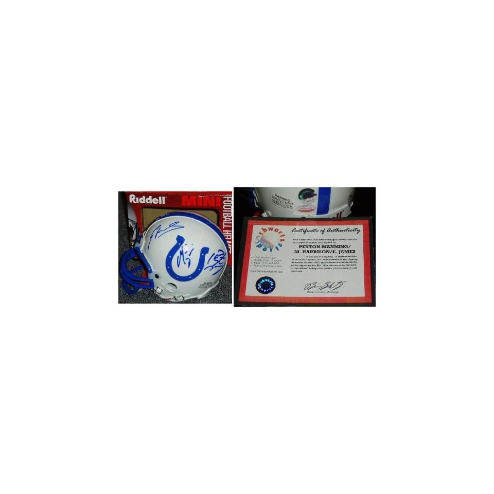 Peyton Manning, Marvin Harrison, & Edgerrin James Triple Signed Colts Riddell Mini Helmet