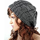 Winter Lady Women Baggy Beret Chunky Knit Knitted Braided Beanie Hat Ski Cap Deep Grey