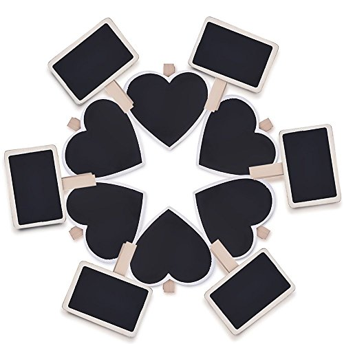 eBoot 12 Pezzi Mini Lavagna in Legno Message Board Segni Piccola Lavagna Clip di Carta Nota Foto