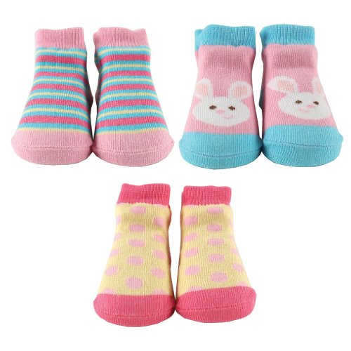 Luvable Friends 3-Piece Little Shoe Socks Gift Set, Pink With Bunny