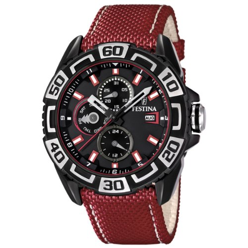 Festina-Mens-Quartz-Watch-with-Black-Dial-Analogue-Display-and-Red-Leather-Stra