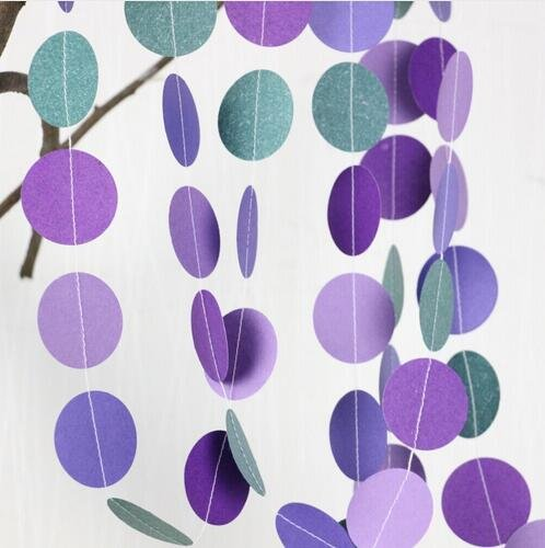 Since Circle Dots Paper Garland Pink White and Gold Glitter - Set of 4 ( 5 Feet each) Total 20 feet. (Teal Purple) (Teal Paper Streamer compare prices)