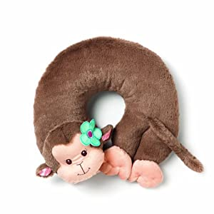 Nat and Jules Floralicious Travel Pillow, Monkey