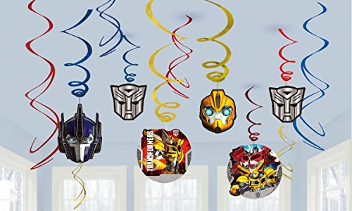 Transformers Party Foil Hanging Swirl Decorations / Spiral Ornaments (12 PCS)- Party Supply, Party Decorations