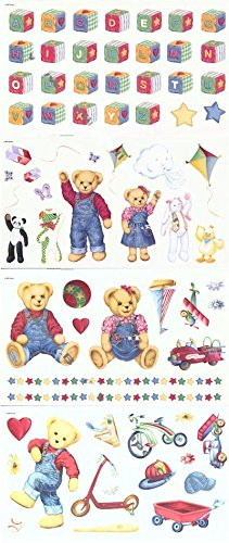 Borders Unlimited Blue Jean Teddy Appliques - 55 Stickers