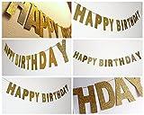 SUNBEAUTY ゴールド英文字フラッグ グリーター キラキラなペーパーガーランド 誕生日お祝い 子供の部屋 保育園の飾り付け デコレーション インテリア 写真背景