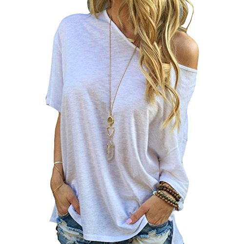 Damen Sommer Shirt Kurzarm Schulterfrei Bluse Hemden T-Shirt Crop Tops Oversize Off-Shoulder Schräg Kragen Asymmetrisch Casual Schwarz Weiß (L, Weiß)
