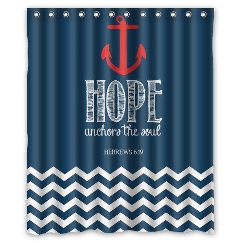 Navy Chevron & Hope Anchor Fabric Shower Curtain
