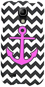 Cell Armor Snap-On Cover for Samsung Galaxy S4 Mini - Retail Packaging - Pink Achor on Black and White Chevron