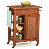 Home Styles Jamaican Bay Small Kitchen Cart in Soft Mahogany