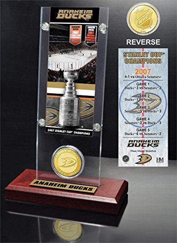 "NHL Anaheim Ducks Stanley Cup Champions Ticket & Coin Acrylic Display, 12"" x 6"" x 7"", Bronze"