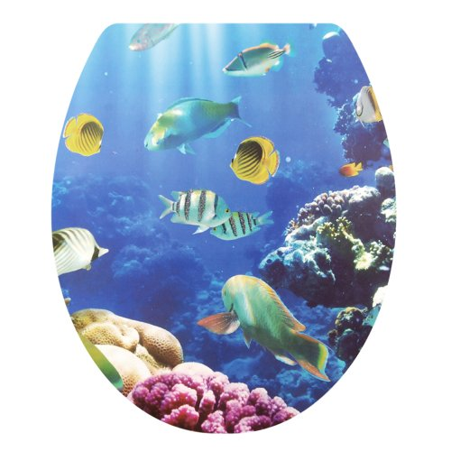 Apollo23-Bathroom Decor Sticker Toilet Lid Seat Cover Decal Adhesive Bath Decoration, Tropical Fish Pattern