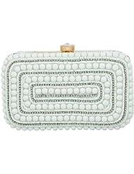 Tooba Handicraft Women's Clutch (white Batasha Rectangle 6x4, White)