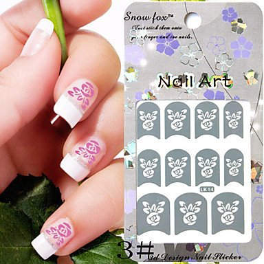 EVERMARKET(TM) 3PCS Paper Nail Art Image Stamp Stickers LK Series No.2(Assorted Colors) цена