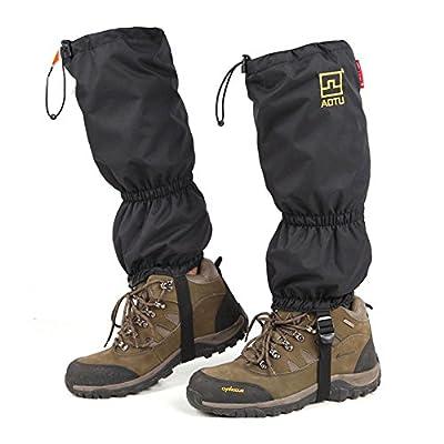 Ezyoutdoor 1 Pair Unisex Black Zipper and Elastic Outdoor Durable Waterproof Snowproof Walking Gaiters Snow Legging Leg Cover Wraps for Outdoor Hiking Climbing Hunting Camping