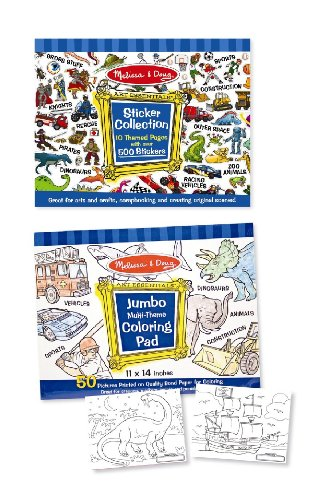 Melissa & Doug Sticker and Jumbo Coloring Pads Set: Animals Sports Vehicles and More - 500+ Stickers 50 Coloring Pages (Kids Coloring Pad compare prices)